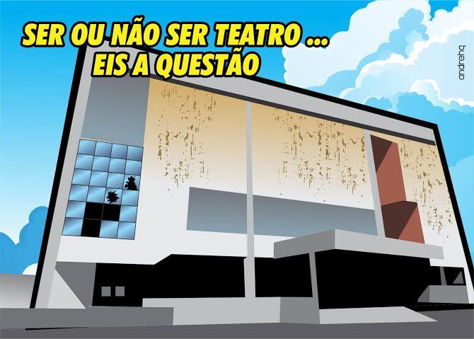 Charge de AndreHQ ilustra dúvida sobre Teatro.