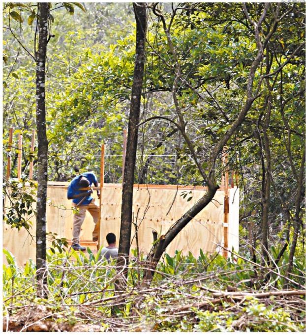 Flagrante da construção de barracos à luz do dia 21 de outubro (Foto: Carlos Nogueira)